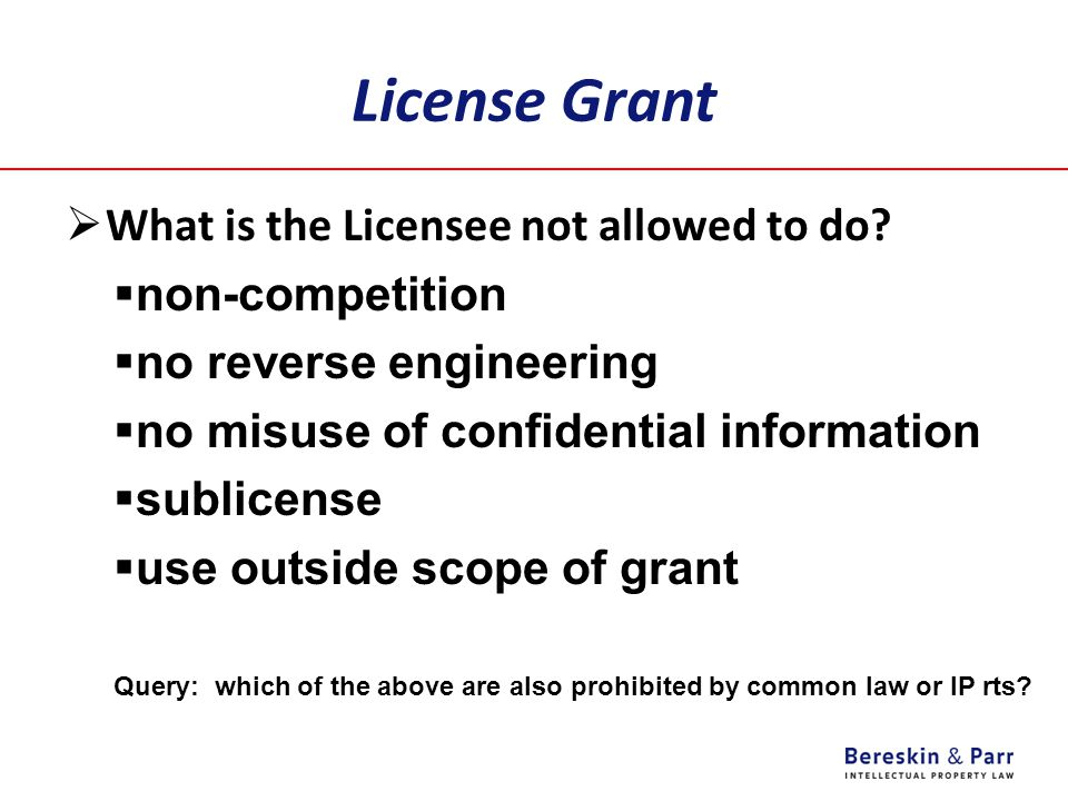 License Grant What is the Licensee not allowed to do non-competition