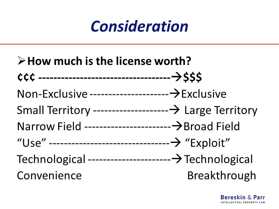 Consideration How much is the license worth