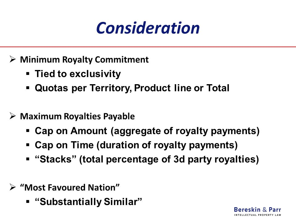 Consideration Minimum Royalty Commitment Tied to exclusivity