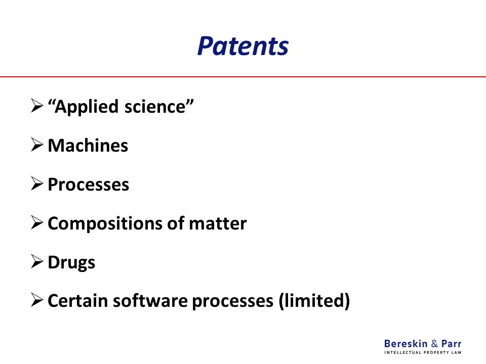 Patents Applied science Machines Processes Compositions of matter