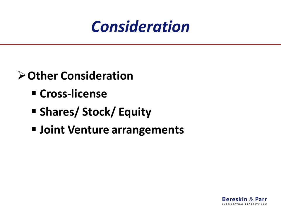 Consideration Other Consideration Cross-license Shares/ Stock/ Equity