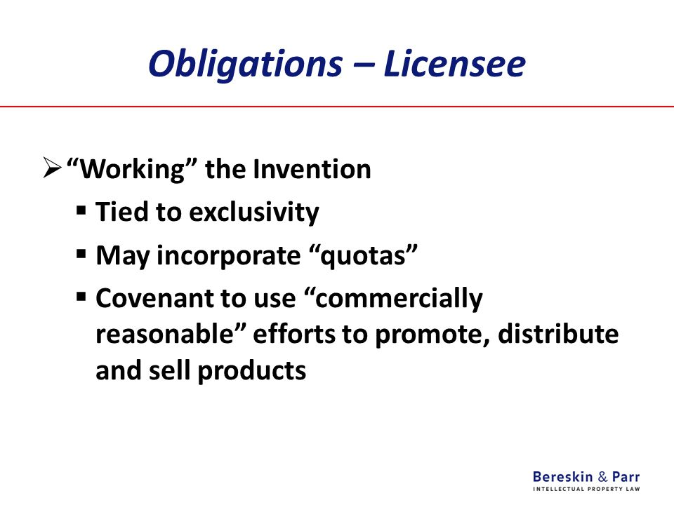 Obligations – Licensee
