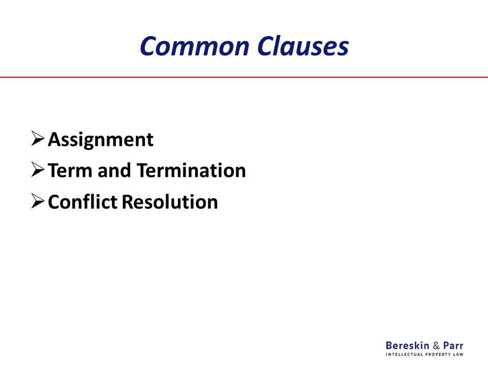 Common Clauses Assignment Term and Termination Conflict Resolution