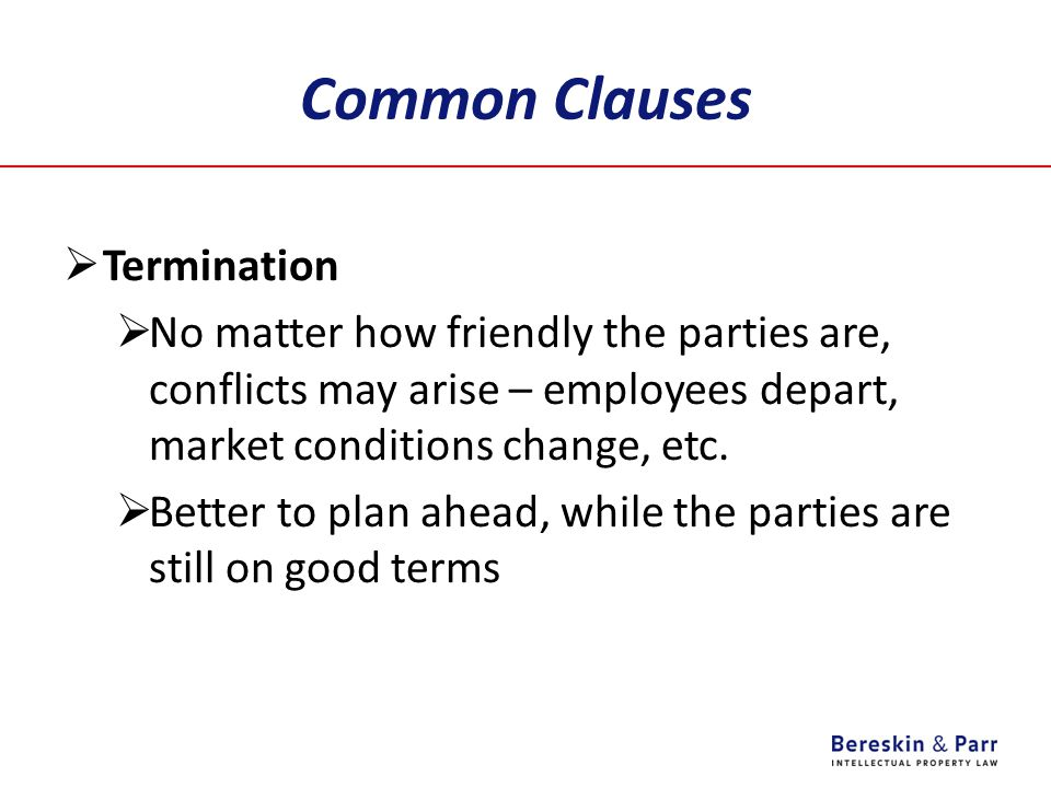 Common Clauses Termination
