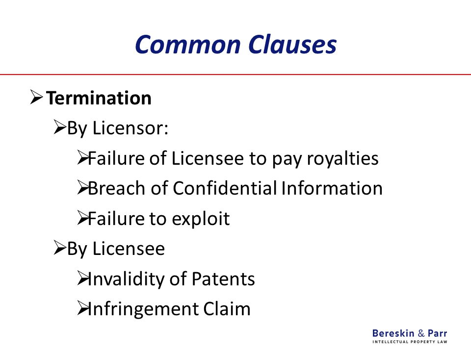Common Clauses Termination By Licensor: