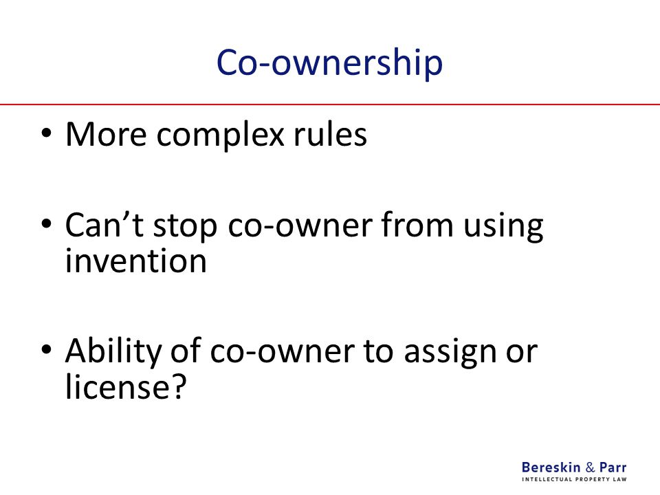 Co-ownership More complex rules