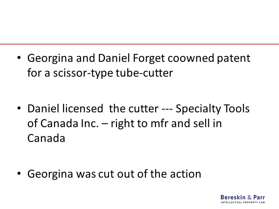 Georgina and Daniel Forget coowned patent for a scissor-type tube-cutter