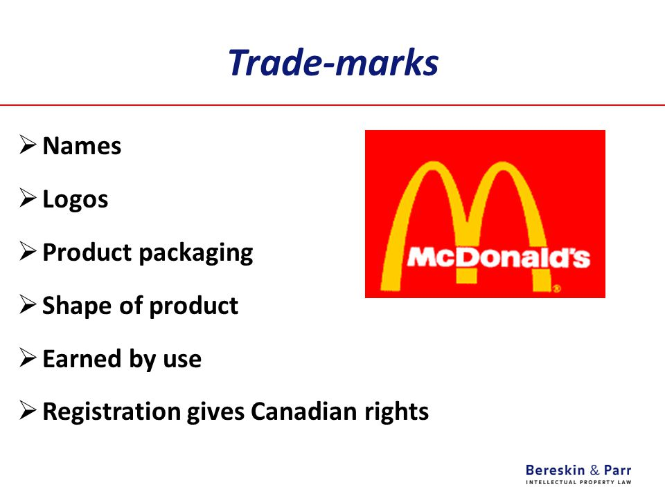 Trade-marks Names Logos Product packaging Shape of product