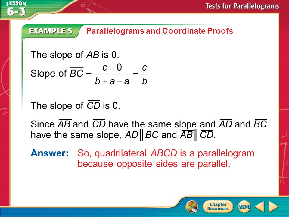 The slope of AB is 0. The slope of CD is 0.