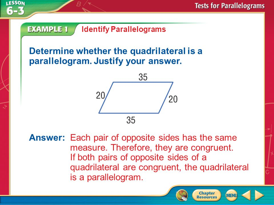 Identify Parallelograms