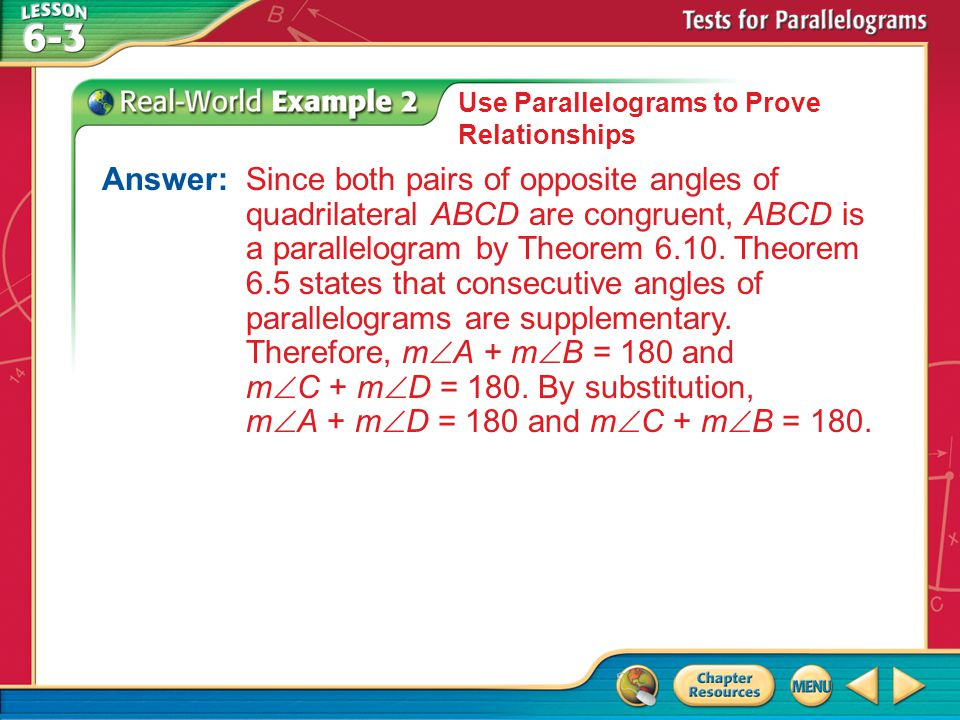 Use Parallelograms to Prove Relationships