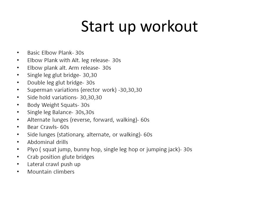 Start up workout Basic Elbow Plank- 30s
