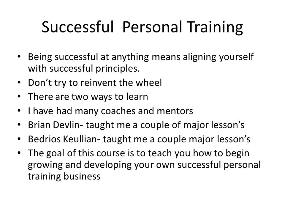 Successful Personal Training