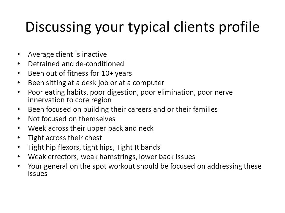 Discussing your typical clients profile
