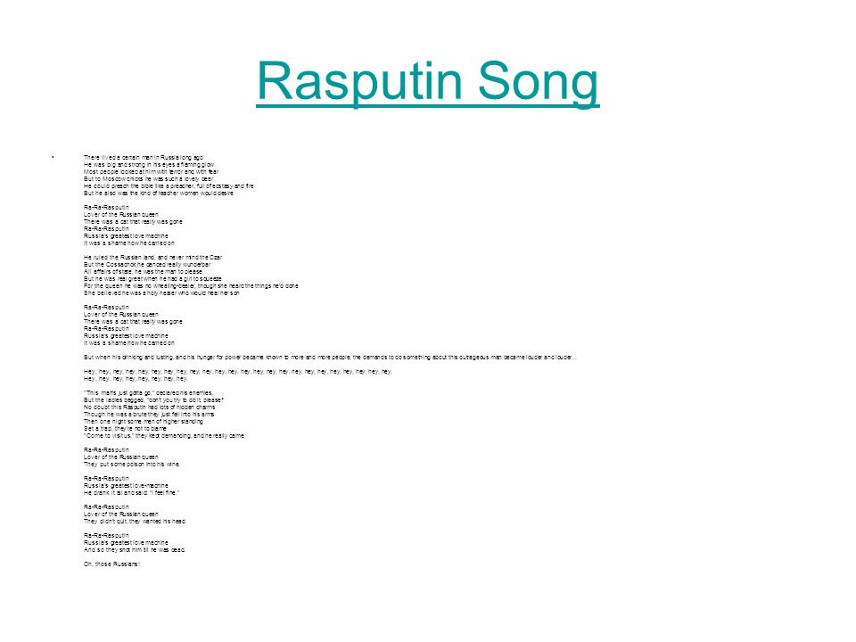 Rasputin Song