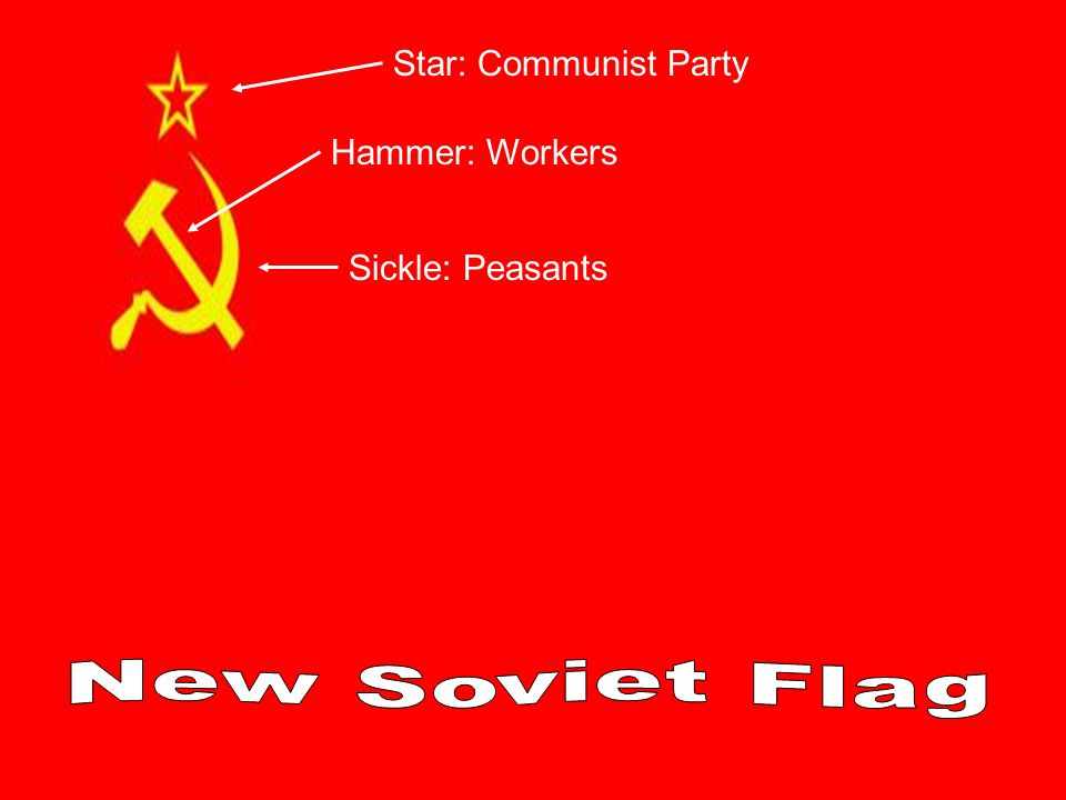 Star: Communist Party Hammer: Workers Sickle: Peasants New Soviet Flag