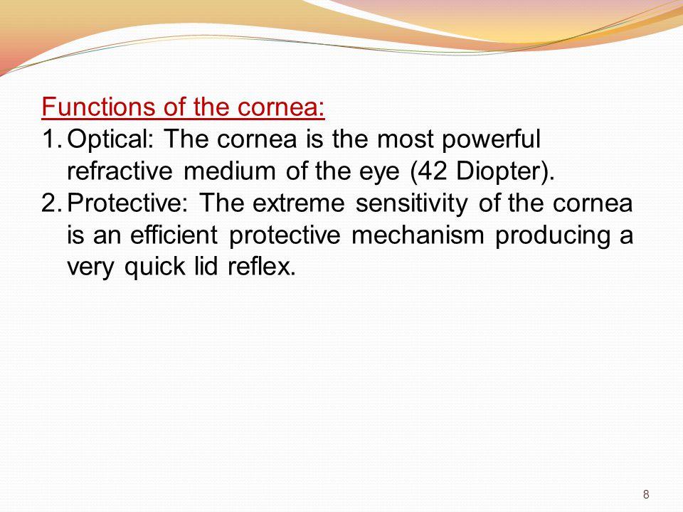 Functions of the cornea: