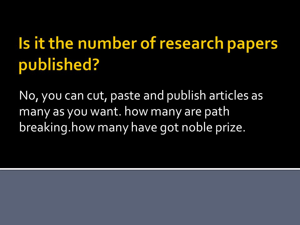 Is it the number of research papers published