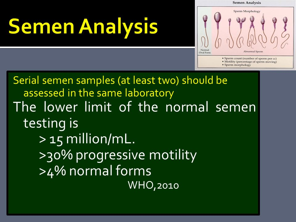 Semen Analysis The lower limit of the normal semen testing is