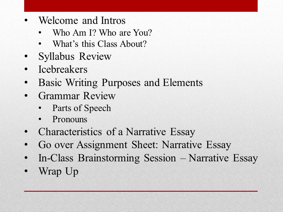 Basic Writing Purposes and Elements Grammar Review