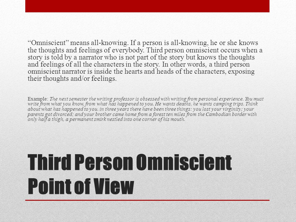 Third Person Omniscient Point of View