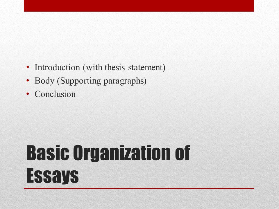 Basic Organization of Essays