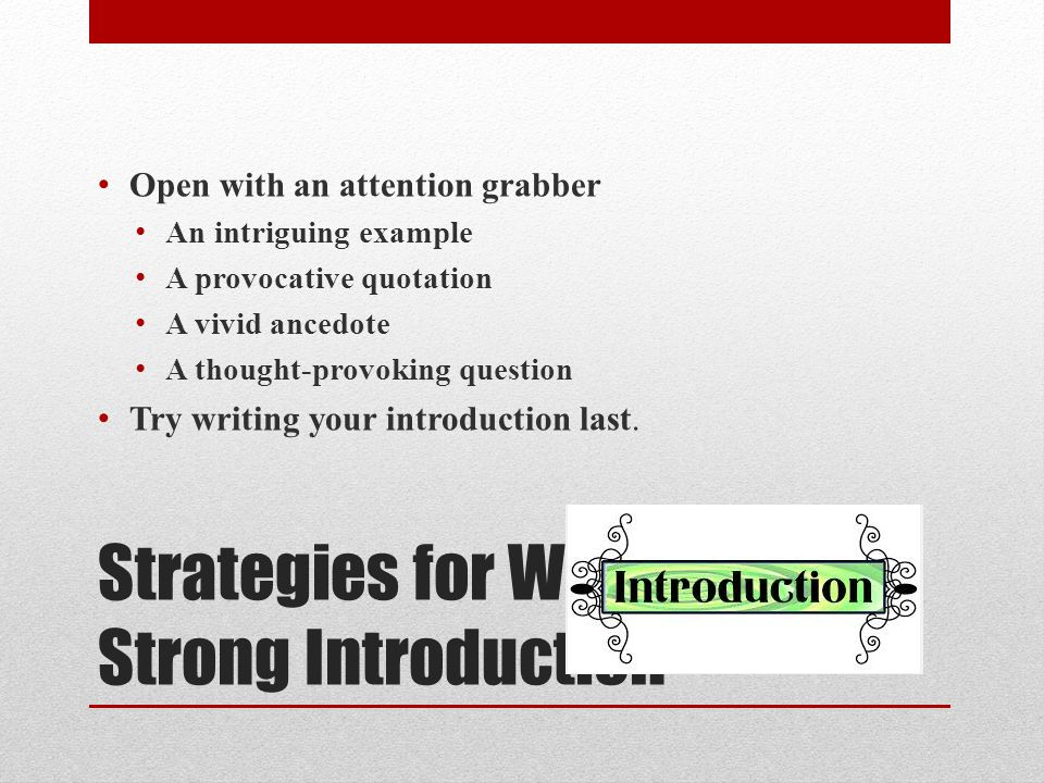 Strategies for Writing a Strong Introduction