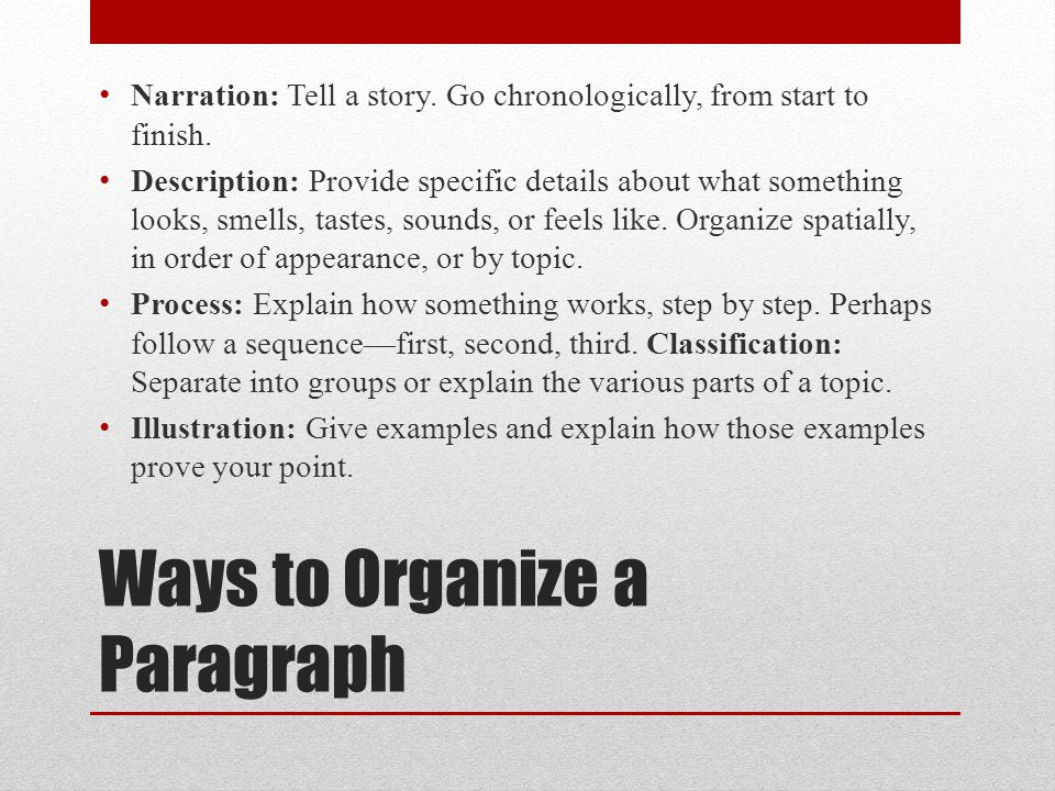 Ways to Organize a Paragraph