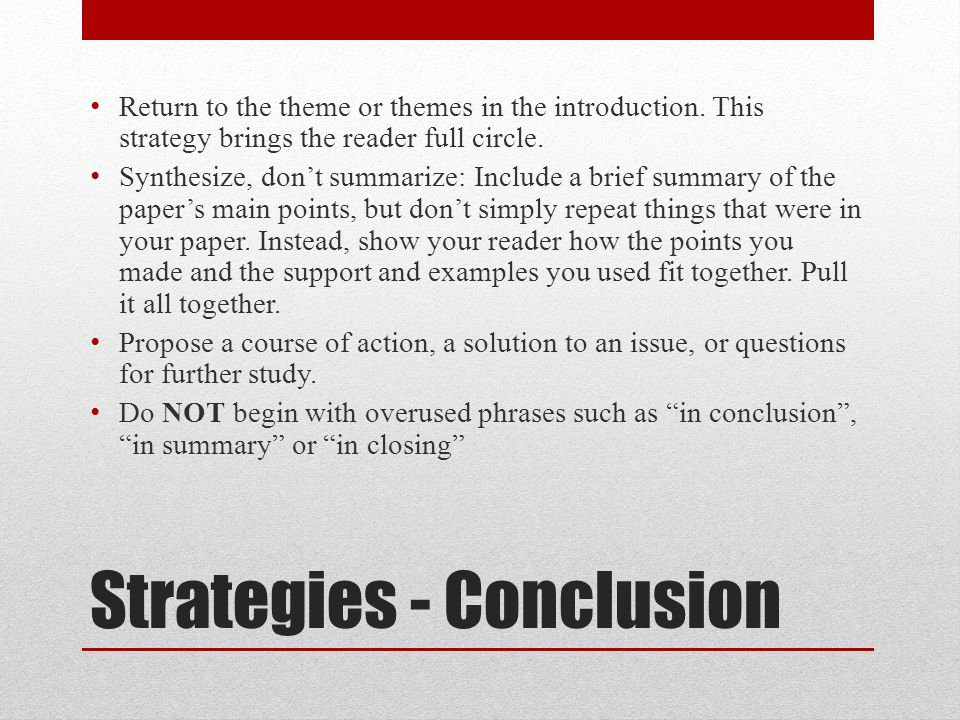 Strategies - Conclusion