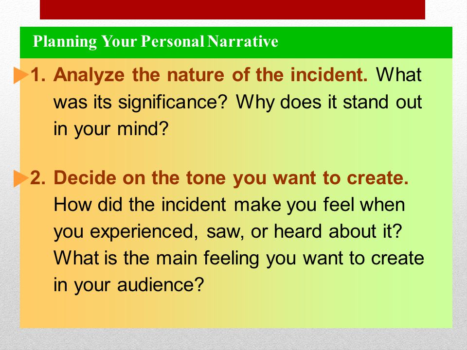 Planning Your Personal Narrative