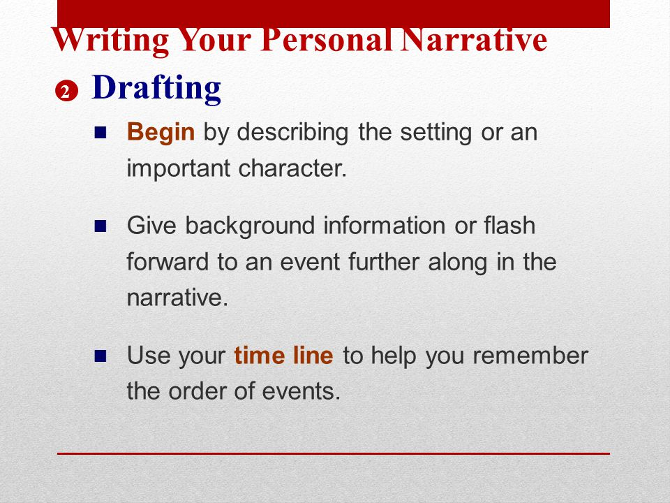 Writing Your Personal Narrative Drafting