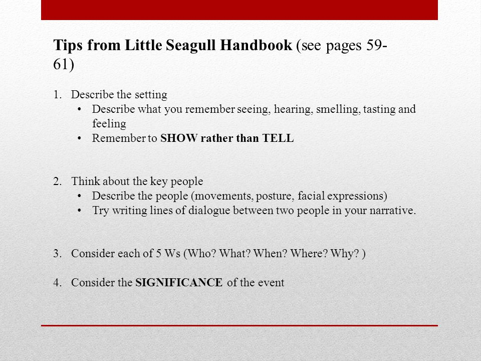 Tips from Little Seagull Handbook (see pages 59-61)