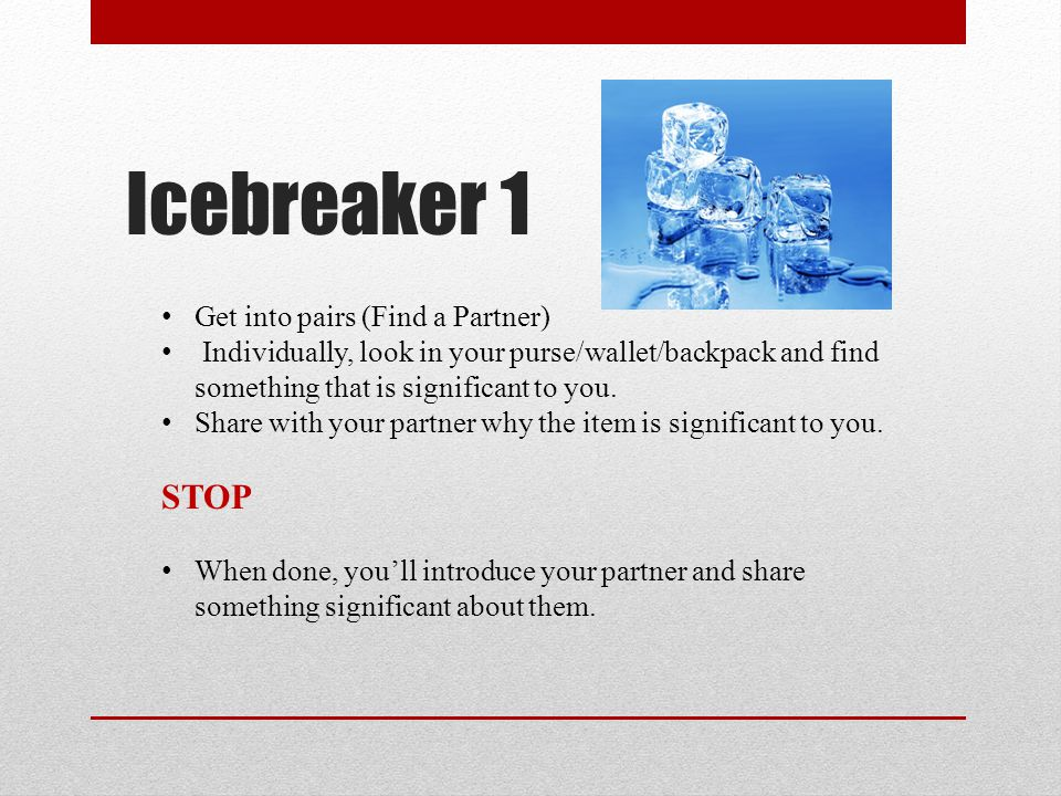 Icebreaker 1 STOP Get into pairs (Find a Partner)