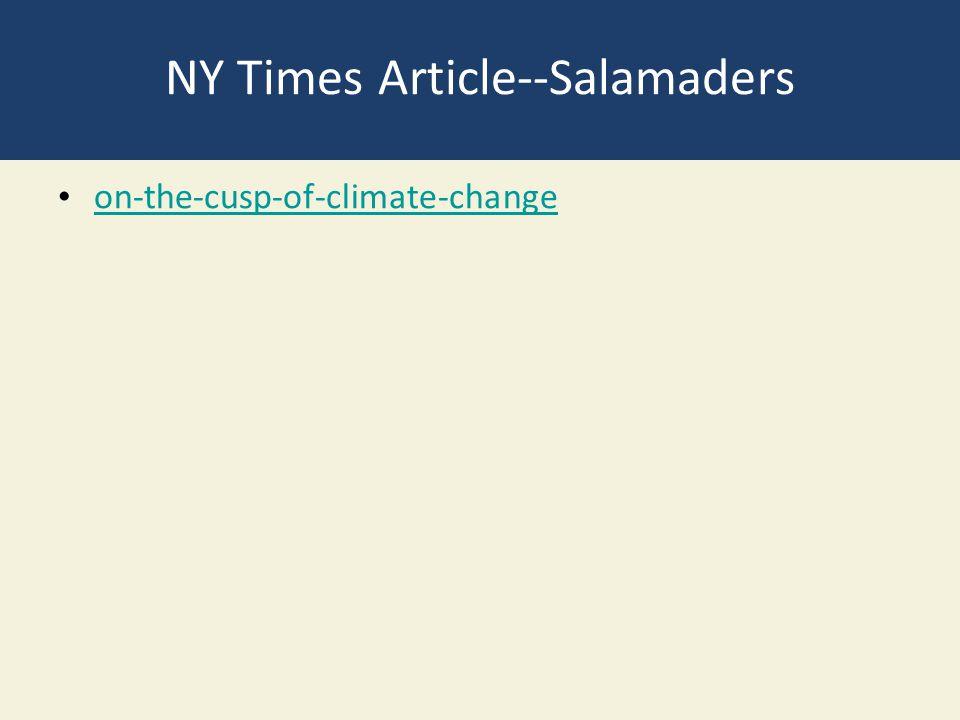 NY Times Article--Salamaders