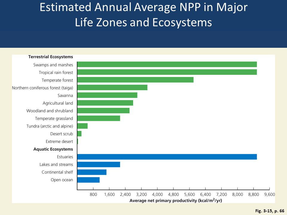 Estimated Annual Average NPP in Major Life Zones and Ecosystems