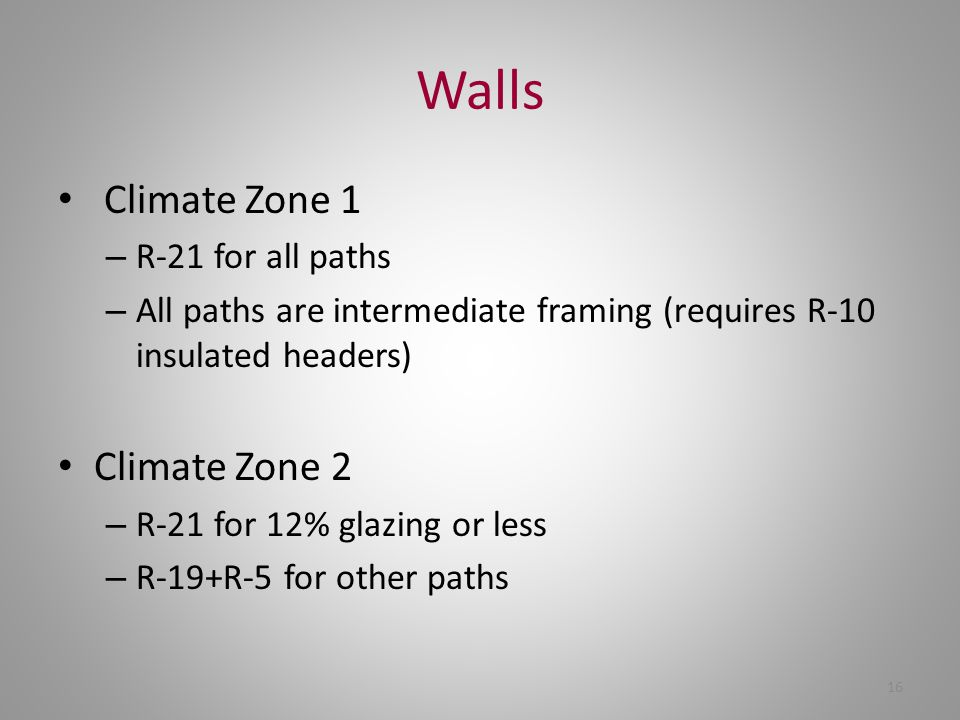 Walls Climate Zone 1 Climate Zone 2 R-21 for all paths