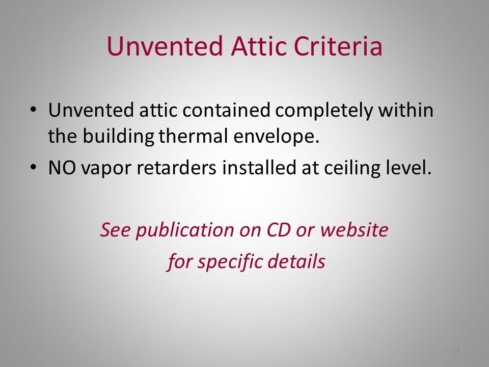 Unvented Attic Criteria