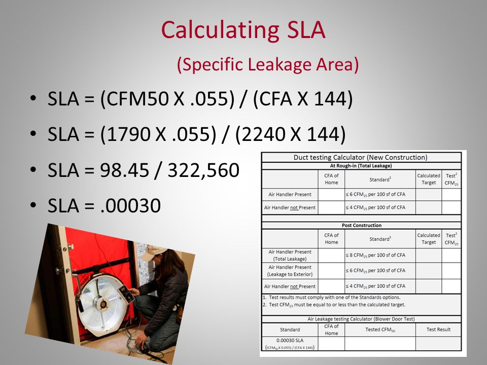 Calculating SLA (Specific Leakage Area)