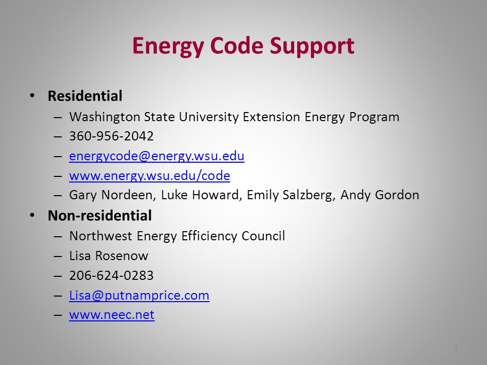 Energy Code Support Residential Non-residential