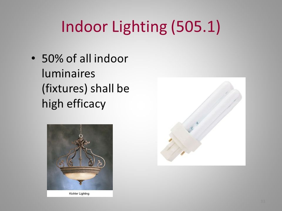 Indoor Lighting (505.1) 50% of all indoor luminaires (fixtures) shall be high efficacy