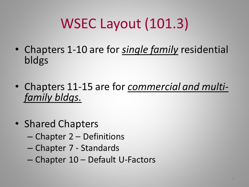 WSEC Layout (101.3) Chapters 1-10 are for single family residential bldgs. Chapters 11-15 are for commercial and multi-family bldgs.
