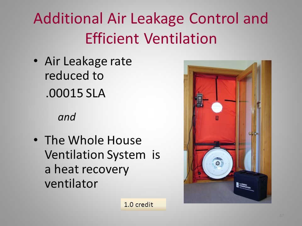 Additional Air Leakage Control and Efficient Ventilation