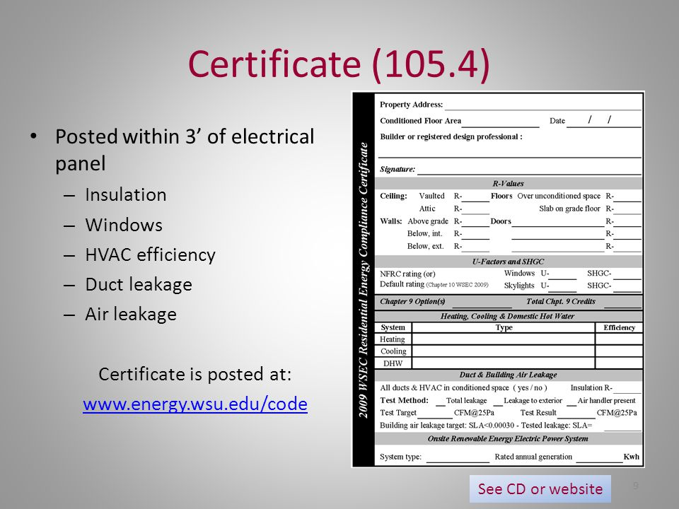 Certificate is posted at: