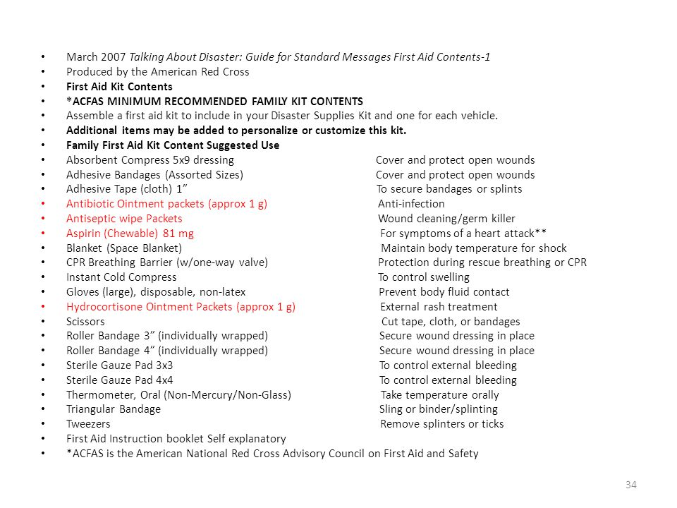 March 2007 Talking About Disaster: Guide for Standard Messages First Aid Contents-1