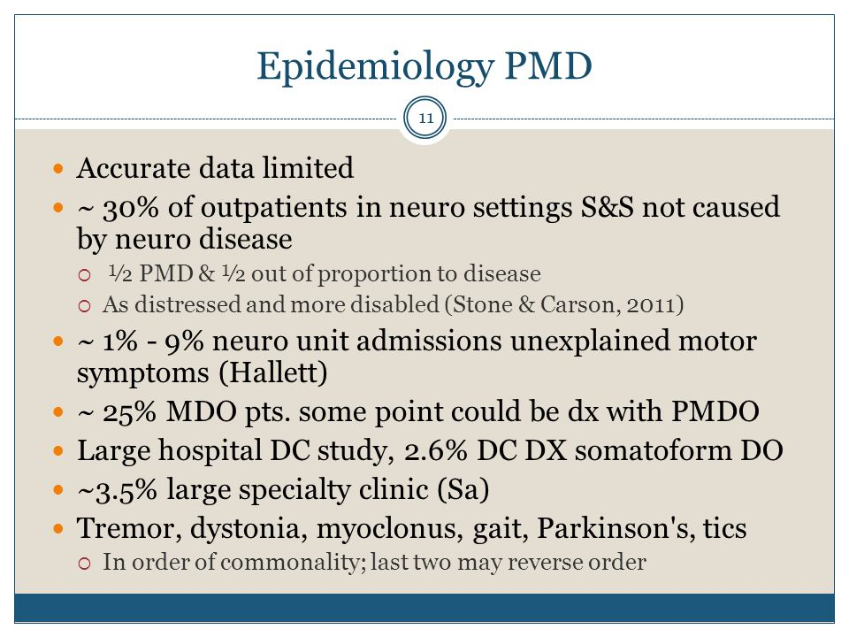 Epidemiology PMD Accurate data limited