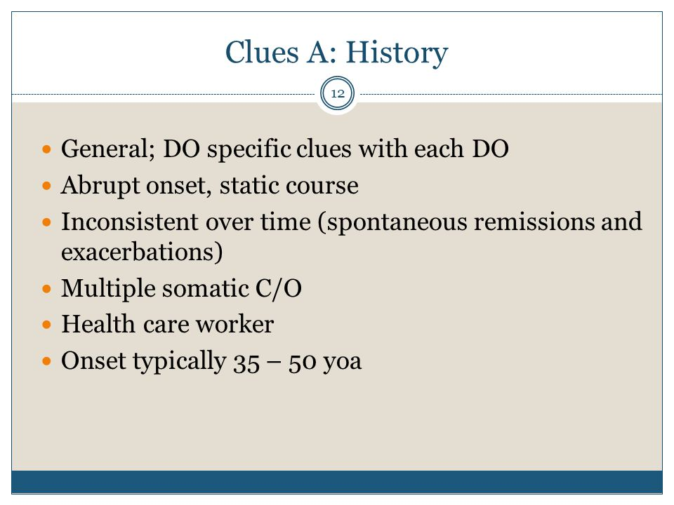 Clues A: History General; DO specific clues with each DO
