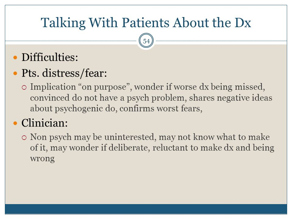Talking With Patients About the Dx