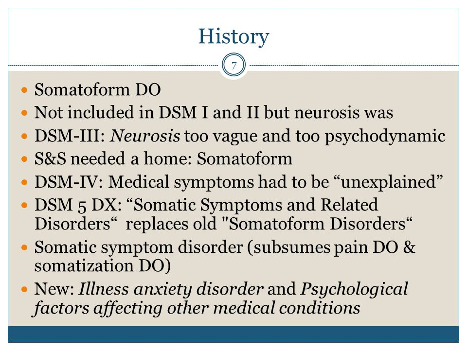 History Somatoform DO Not included in DSM I and II but neurosis was