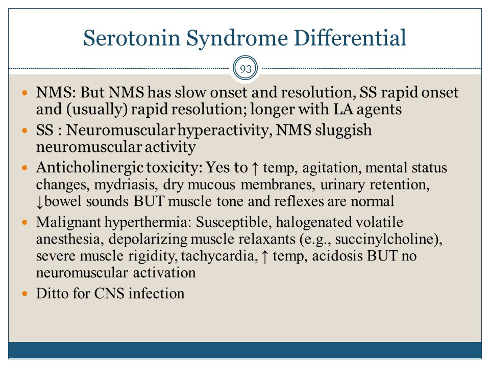 Serotonin Syndrome Differential