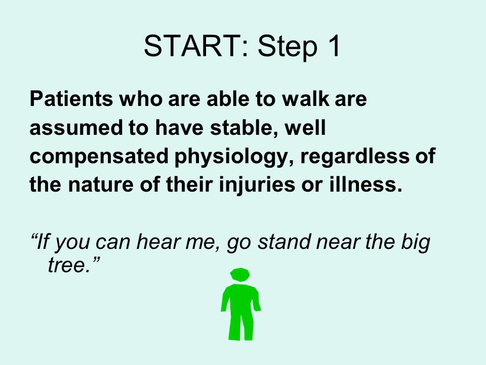 START: Step 1 Patients who are able to walk are